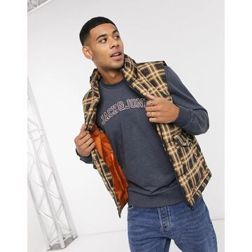 Only & Sons puffer vest in check-Navy