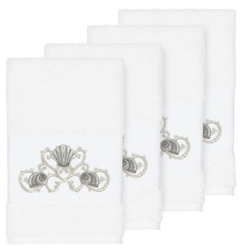 Authentic Hotel and Spa Turkish Cotton Shells Embroidered White 4-piece Hand Towel Set