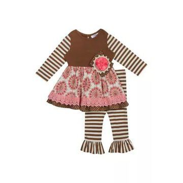 Rare Editions Girls' Baby Girls Pink And Olive Stripe Top And Leggings - 2 Piece Set - -