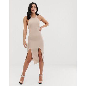 Vesper Double Thigh Split Midi Dress