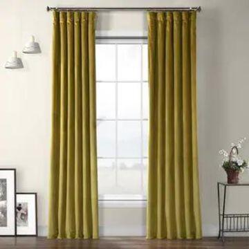 Exclusive Fabrics Heritage Plush Velvet Sing Curtain Panel (50 X 108 - Peat Green)