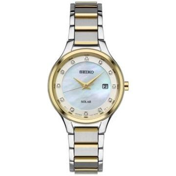 Seiko Women's Solar Dress Diamond Accent Two-Tone Stainless Steel Bracelet Watch 29mm SUT318