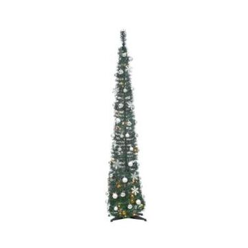 Sterling 6-Foot High Pop Up Pre-Lit Decorated Narrow Green Tree with Warm White Lights