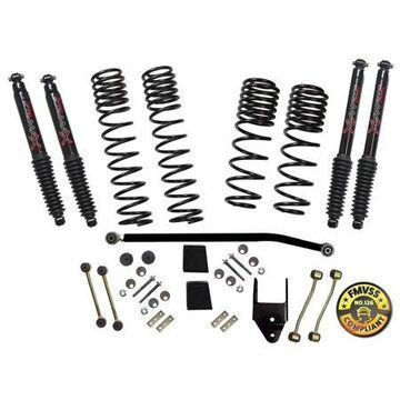 Skyjacker JL35RBPBLT Long Travel Series Suspension Lift Kit w/Shocks; 3.5 in. Lift; Incl. Long Travel Coil Springs; Extended Sway Bar Links; Bump Stop Extensions; Long Travel Black Max Shocks;
