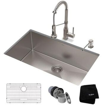 KRAUS 32-inch 16 Gauge Standart PRO Kitchen Sink Combo Set with Bolden 18-inch Kitchen Faucet and Soap Dispenser, Stainless Steel Finish