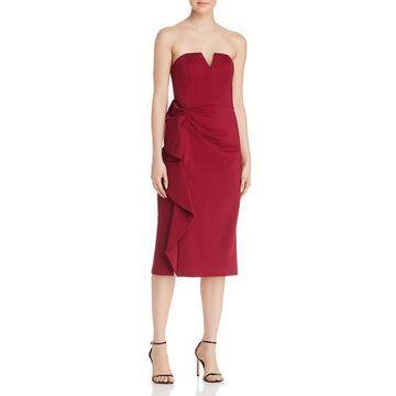 Aidan Mattox Womens Strapless Ruffled Cocktail Dress