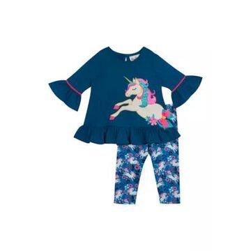 Rare Editions Girls' Baby Girls 2 Piece Foil Unicorn Top And Leggings Set - -