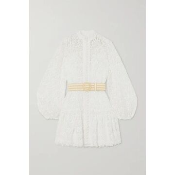 Zimmermann - Belted Button-detailed Guipure Lace Mini Dress - Ivory