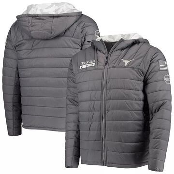 Men's Colosseum Gray/Camo Texas Longhorns OHT Military Appreciation Iceman Snow Puffer Full-Zip Hoodie Jacket, Size: 3XL, TEX Grey