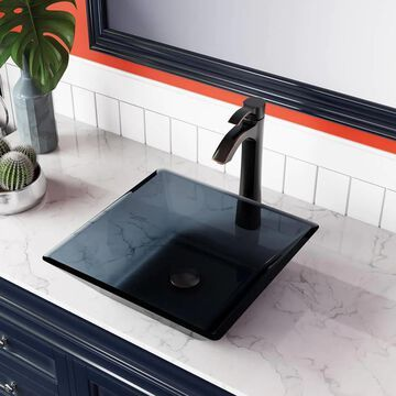 MR Direct Black Tempered Glass Vessel Square Bathroom Sink with Faucet (Drain Included) (15.75-in x 15.75-in) | 630-726-ABR