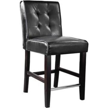 CorLiving Antonio Bonded Leather Counter Height Barstool (Black)