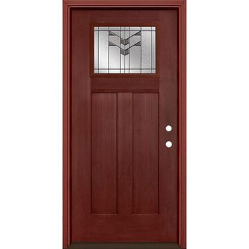 Masonite Frontier 64-in x 80-in Fiberglass Craftsman Left-Hand Inswing Wineberry Stained Prehung Single Front Door with Brickmould in Red