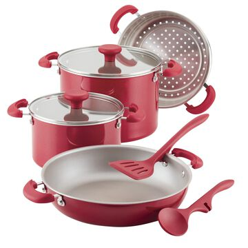 Rachael Ray 8 Pc Create Delicious Stackable Nonstick Cookware Set, Red Shimmer