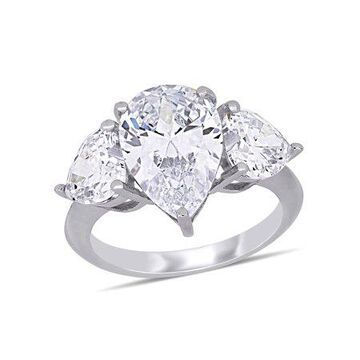 Miabella 14 Carat T.G.W. Cubic Zirconia Sterling Silver 3-Stone Engagement Ring