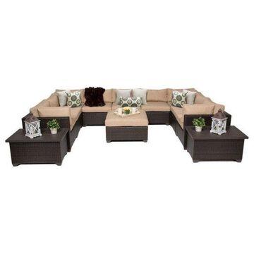 TK Classics Belle 12-Piece Outdoor Wicker Sofa Set, Wheat