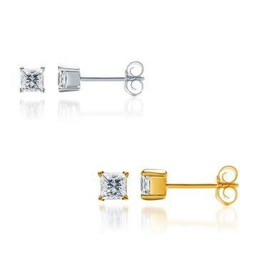 Divina Sterling Silver 1/4ct TDW Diamond Stud Earring