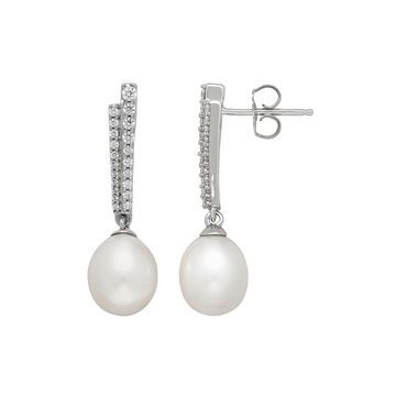 Certified Sofia Bridal Cultured Freshwater Pearl & Swarovski Cubic Zirconia Sterling Silver Earrings