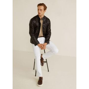 MANGO MAN - Zipper nappa biker jacket chocolate - M - Men