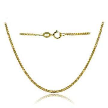 Mondevio 14k White Gold .8mm Spiga Wheat Italian Chain Necklace, 24 Inches (Yellow)