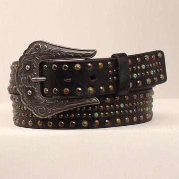 N320000301-M 1.50 in. Multi Metal Nailheads Ladies Belt & Buckle, Black - Medium