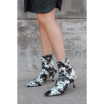 Qweene V Tie-Dye Pointed-Toe Sock High Heel Boots | Lulus