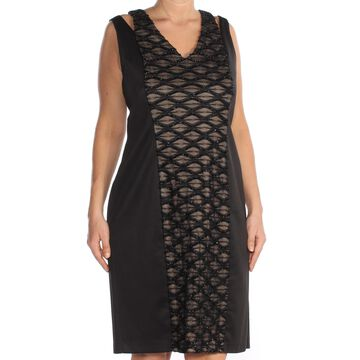 CONNECTED APPAREL Womens Black Textured Sleeveless V Neck Above The Knee Fit + Flare Cocktail Dress Size: 10