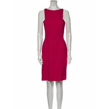 Bateau Neckline Knee-Length Dress Pink