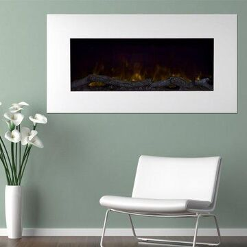 Electric Fireplace Wall Mounted, Color Changing LED Flame and Remote, 36 Inch, By Northwest (White)