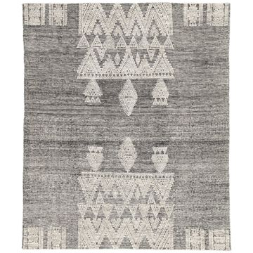 Ailana Hand-knotted Geometric Black/ Ivory Runner Rug - 3' x 10'