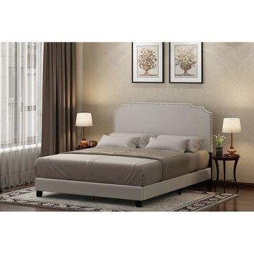 Furinno Nadia Nailhead Trim Bed Frame, Linen