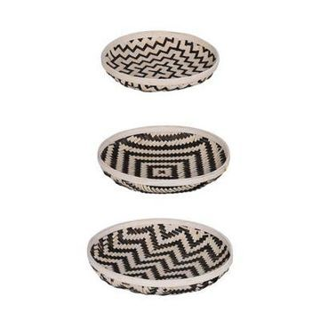 A&B Home 3-Piece Organic Elements Geometric Wash Tray Set in Black/White