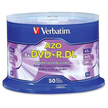Verbatim DVD+R DL Branded Surface Spindle, 8.5GB, Pack Of 50