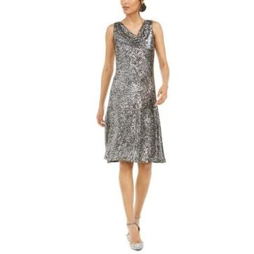 Taylor Cowlneck Sequined Midi Dress