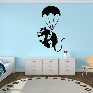 Style and Apply Paratrooper Rat Banksy Vinyl Wall Decal