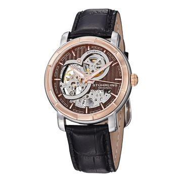 Stuhrling Original Men's Delphi Dauphin Automatic Skeleton Black Leather Strap Watch