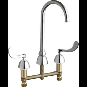Chicago Faucets 786-GN2FCAB Commercial Grade High Arch Kitchen Faucet with Wrist Chrome Faucet Kitchen Double Handle