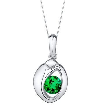 Oravo Simulated Emerald Sterling Silver Sphere Pendant Necklace - Green