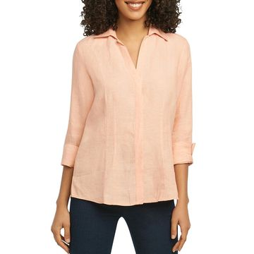 Foxcroft Womens Taylor Linen 3/4 Sleeves Button-Down Top