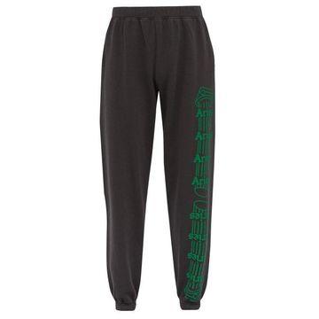 Aries - Column Logo Print Cotton Track Pants - Mens - Black Green
