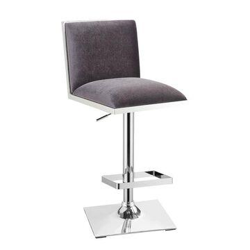 Benzara Gray Bar Height Upholstered Swivel Bar Stool