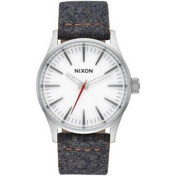 Nixon A377-2476 Sentry Unisex Grey Leather Band With White Analog Dial Watch NWT