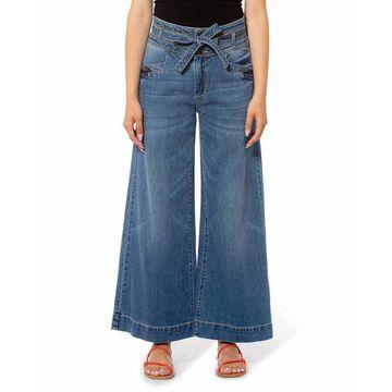 Avery Wide Leg Tie Waist Denim Pants
