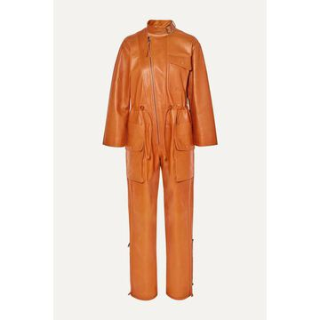 Salvatore Ferragamo - Leather Jumpsuit - Orange