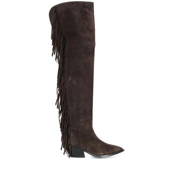 fringed thigh-length boots