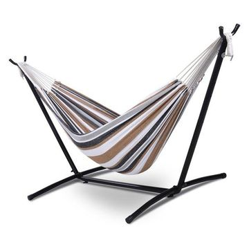 Costway Double Hammock with Space Saving Steel Stand Portable Carry Bag