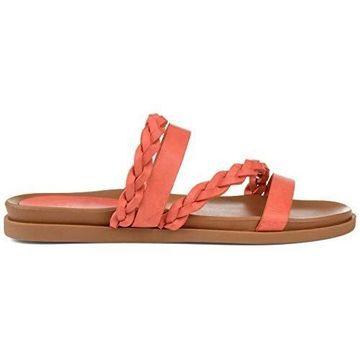Brinley Co. Womens Braided Slip-on Sandal Coral