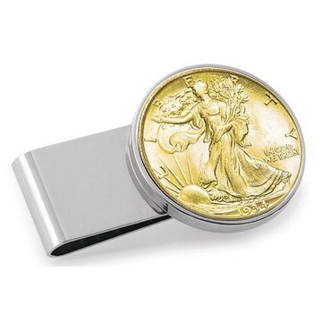 American Coin Treasures Goldplated Walking Liberty Half Dollar Stainless Steel Money Clip