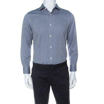 Z Zegna Bicolor Woven Cotton Long Sleeve Button Front Shirt M