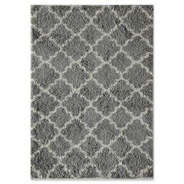 Rugs America Quatrefoil 5' x 8' Shag Area Rug in Grey/Ivory
