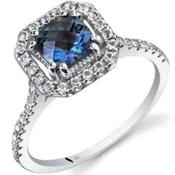 Oravo 14k White Gold Cushion Gemstone Halo Ring (Blue - Alexandrite - 8)